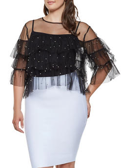 Plus Size Mesh Tiered Sleeve Top - 3803074282304