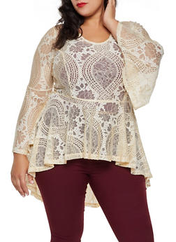 Plus Size Printed Lace High Low Ruffle Top - 3803074282602