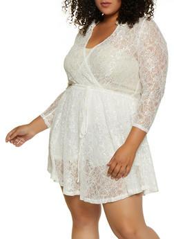 Plus Size Faux Wrap Ruffle Overlay Lace Bodysuit - 3803074282605