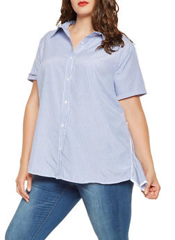 Plus Size Striped Zip Side Shirt - 3803074283000