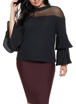 Plus Size Fishnet Yoke Tiered Sleeve Top - 3803074283002