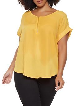 Plus Size Zip Neck Top - 3803074283100