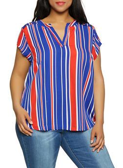 Plus Size Striped Button Shoulder Top - 3803074283101