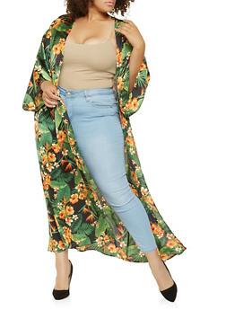 Plus Size Floral Satin Kimono - 3803074283600