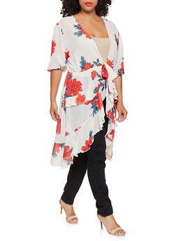 Plus Size Floral High Low Duster - 3803074284300