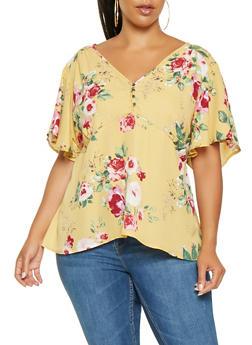 Plus Size Floral Tie Waist Blouse - 3803074284307