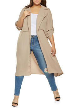 Plus Size Tabbed Sleeve Duster - 3803074284308