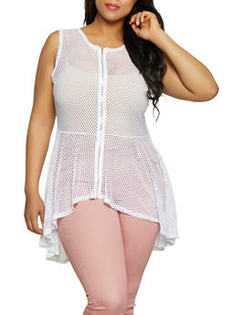 Plus Size Fishnet Zip Front Top - 3803074284490