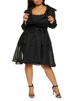Plus Size Mesh Trench Coat - 3803074284807