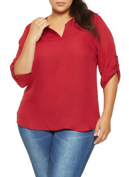 Plus Size Tabbed Sleeve Blouse - 3803074286003