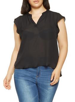 Plus Size High Low Chiffon Blouse - 3803074286005