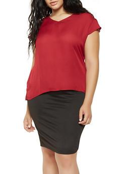 Plus Size Flutter Sleeve Blouse - 3803074286007