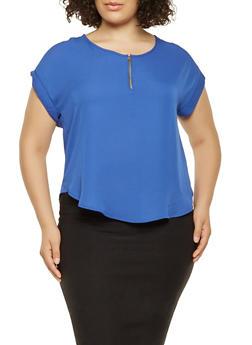 Plus Size Crepe Knit Blouse - 3803074286009