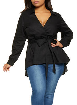 Plus Size Belted High Low Wrap Shirt - 3803074286011