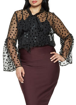 Plus Size Polka Dot Button Front Mesh Top - 3803074286014