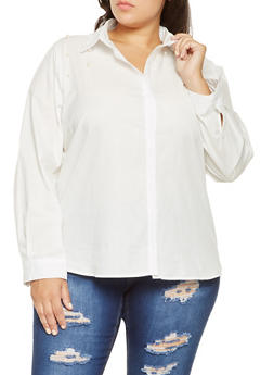 Plus Size Faux Pearl Button Front Shirt - 3803074286016