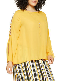 Plus Size Faux Pearl Detail Top with Necklace - 3803074286018