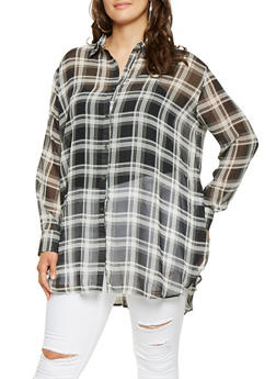 Plus Size Plaid Button Front Tunic Top - 3803074286020