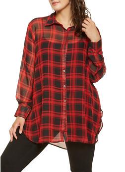 Plus Size Plaid Button Front Tunic Top - 3803074286020
