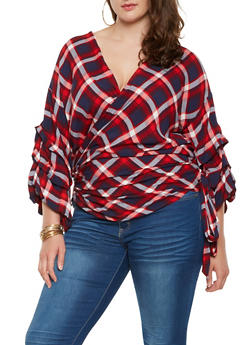 Plus Size Plaid Bubble Sleeve Wrap Top - 3803074286021