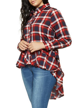 Plus Size Plaid Tiered High Low Hem Shirt - 3803074286022