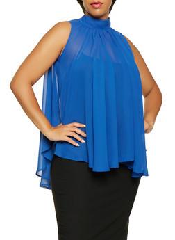 Plus Size Sleeveless Chiffon Blouse - 3803074286023
