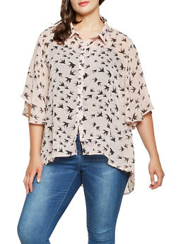 Plus Size Bird Print Button Front Shirt - 3803074286024