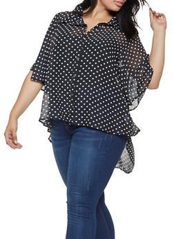 Plus Size Polka Dot Blouse - 3803074286025