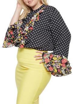 Plus Size Floral Ruffle Polka Dot Blouse - 3803074286027