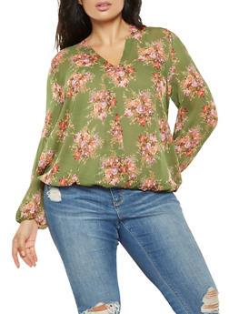 Plus Size Floral Tie Back Blouse - 3803074286028