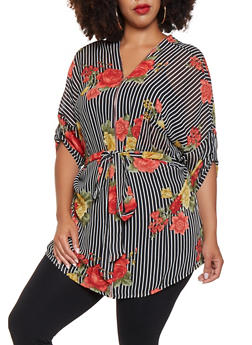 Plus Size Printed Tunic Top - 3803074286030