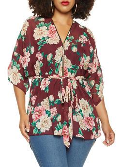 Plus Size Printed Tunic Top - 3803074286030
