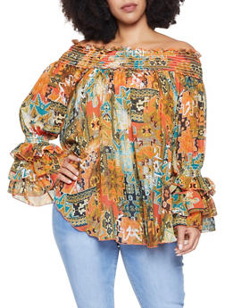 Plus Size Printed Off the Shoulder Blouse - 3803074286031
