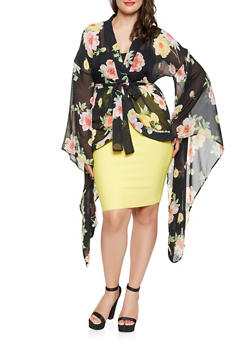 Plus Size Dramatic Bell Sleeve Floral Kimono - 3803074286400