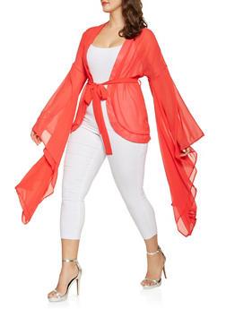 Plus Size Dramatic Bell Sleeve Kimono - 3803074286401