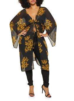 Plus Size Printed Tie Waist Kimono - 3803074286404