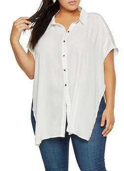 Plus Size Button Front Blouse - 3803074286407