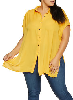 Plus Size Button Front Blouse - 3803074286407