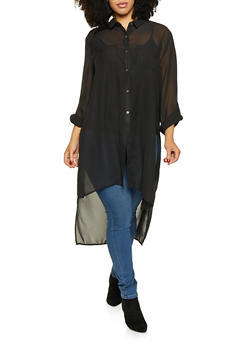 Plus Size High Low Tunic Shirt - 3803074286409