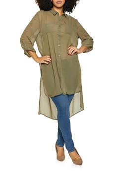 Plus Size High Low Tunic Shirt - 3803074286409