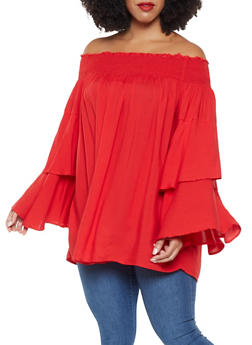 Plus Size Off the Shoulder Tiered Sleeve Top - 3803074286411