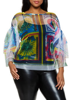 Plus Size Geometric Print Mesh Top - 3803074287356