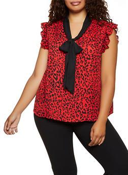 Plus Size Leopard Contrast Tie Neck Blouse - 3803074288100