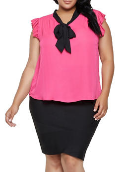 Plus Size Contrast Tie Neck Blouse - 3803074288101