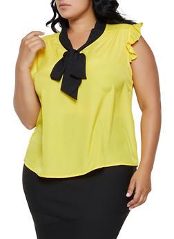 Plus Size Contrast Tie Neck Blouse - 3803074288101