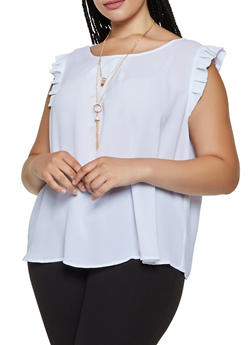 Plus Size Pleated Trim Blouse - 3803074288105