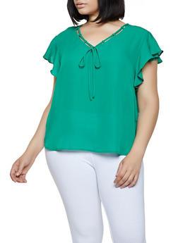 Plus Size Threaded V Neck Blouse - 3803074288106
