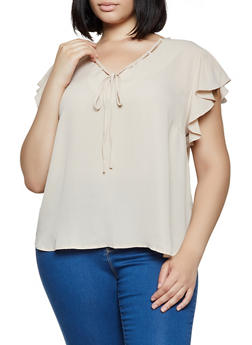 Plus Size Threaded V Neck Blouse - 3803074288106