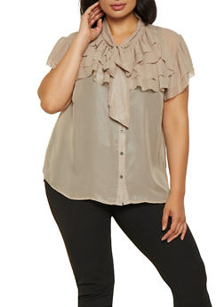 Plus Size Tiered Shimmer Knit Shirt - 3803074288108