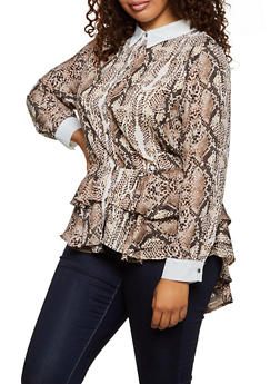 Plus Size Snake Print Peplum Shirt - 3803074288113